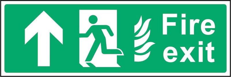 Fire Exit Sign: Forward Arrow (Flames) | Elevate Signs