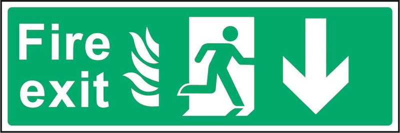 Fire Exit Sign: Backward Arrow (Flames) | Elevate Signs