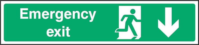 Emergency Exit Sign: Backward Arrow | Elevate Signs