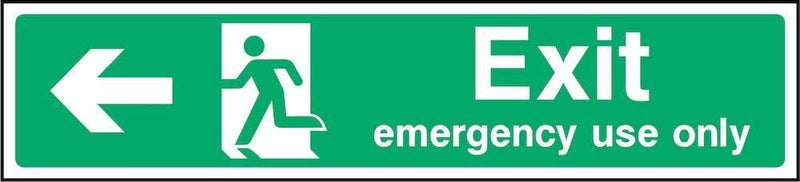 Emergency Use Only Exit Sign: Left Arrow | Elevate Signs