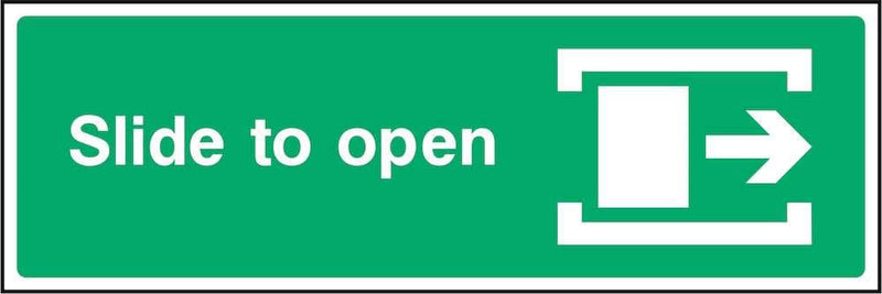 Fire Door Sign: Slide Right to Open | Elevate Signs