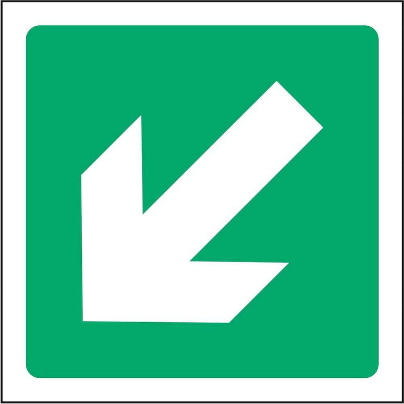 Emergency Escape Direction Sign: Angled Left Arrow | Elevate Signs