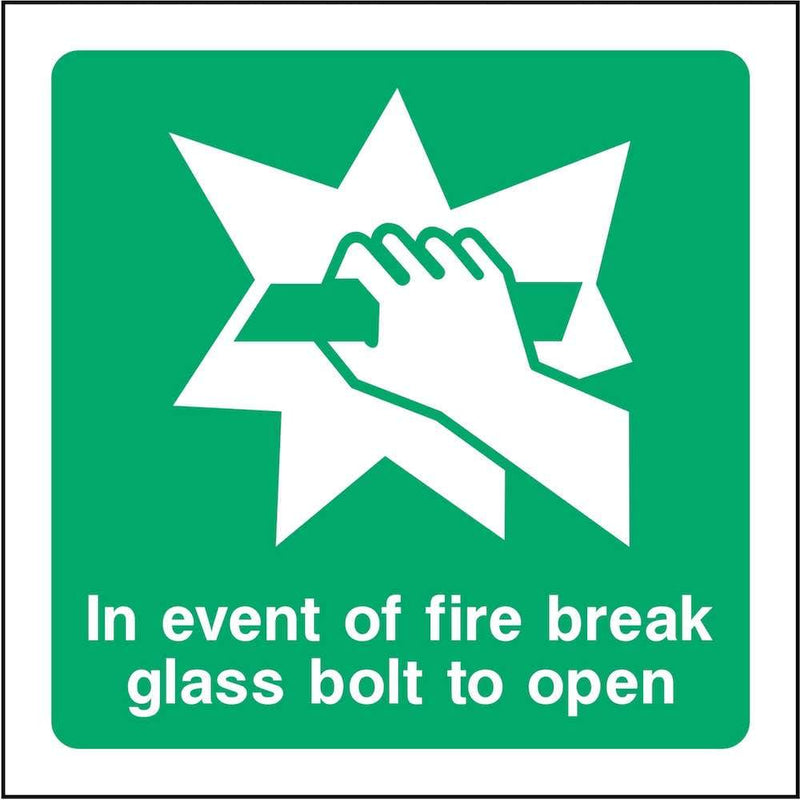 In Event of Fire, Break Glass Bolt Sign | Elevate Signs