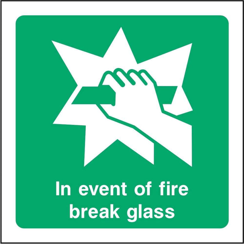 In Event of Fire, Break Glass Sign | Elevate Signs