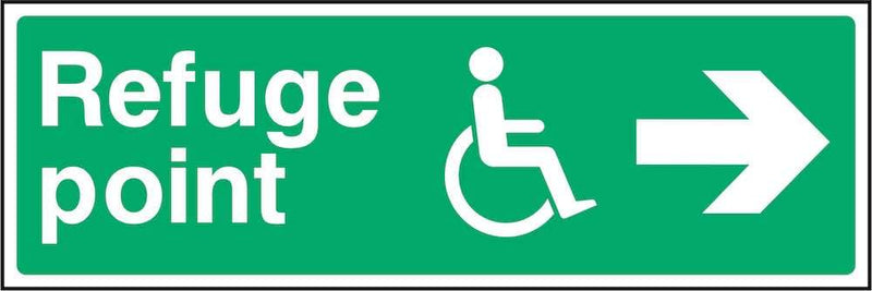 Disability Refuge Point Sign: Right Arrow