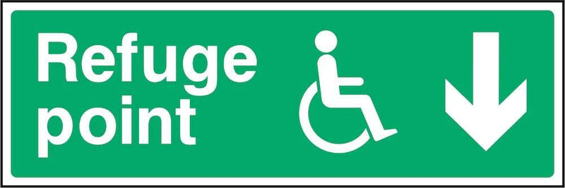 Disability Refuge Point Sign: Backward Arrow | Elevate Signs