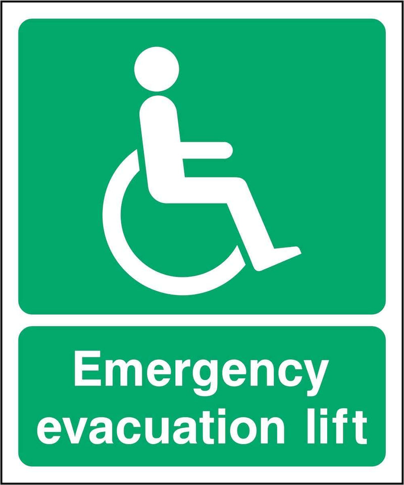 Emergency Evacuation Lift Sign | Elevate Signs