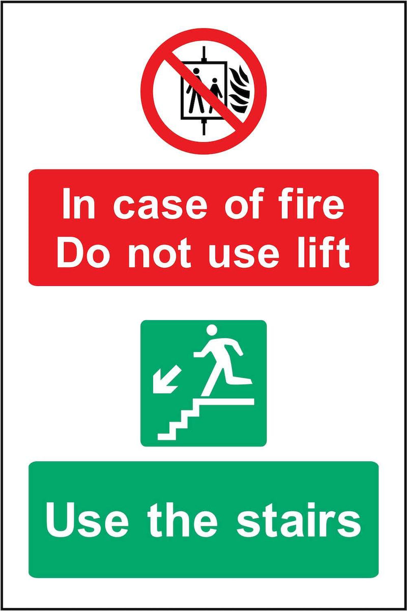 In Case Of Fire, Do Not Use Lift, Use Stairs Sign | Elevate Signs