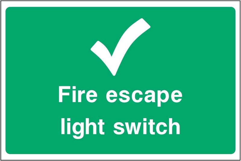 Fire Escape Light Switch Sign | Elevate Signs