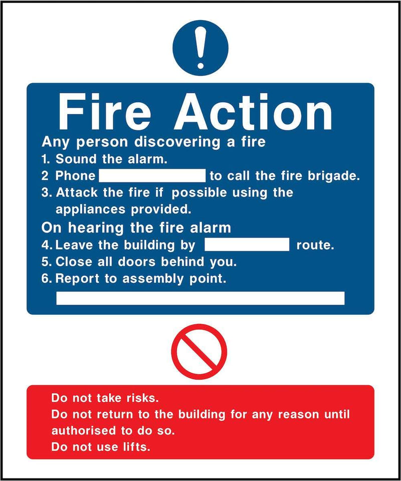 Fire Action Notice Sign: Six Points (Attack The Fire) Sign | Elevate Signs