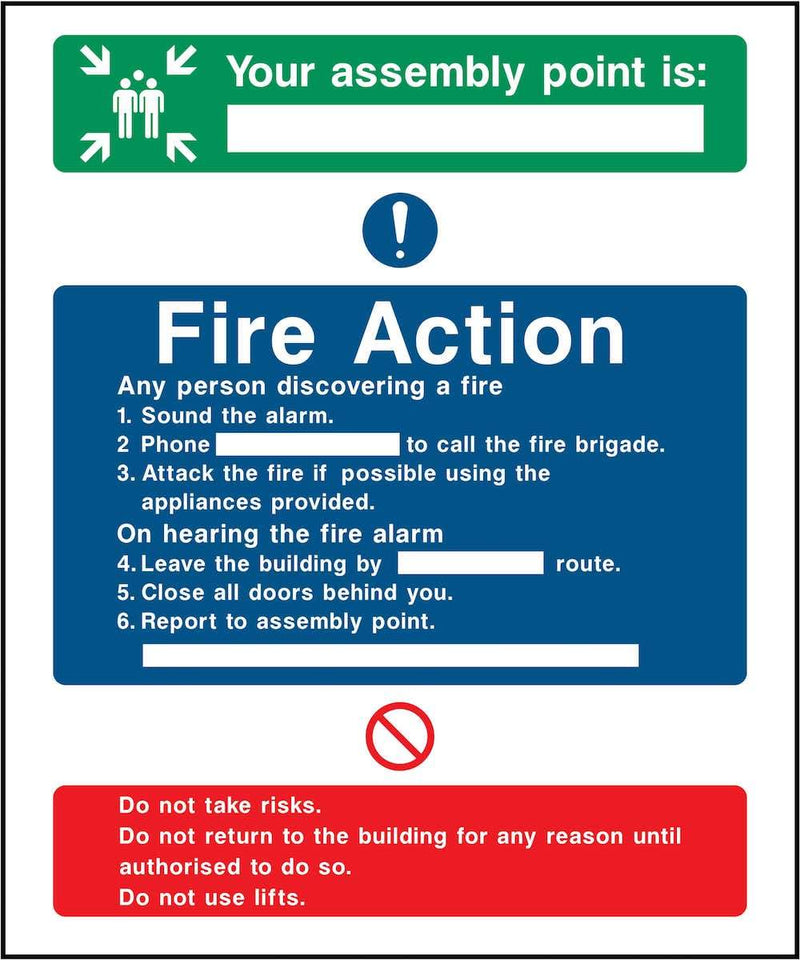 Fire Action Notice Sign: Assembly Point Information | Elevate Signs