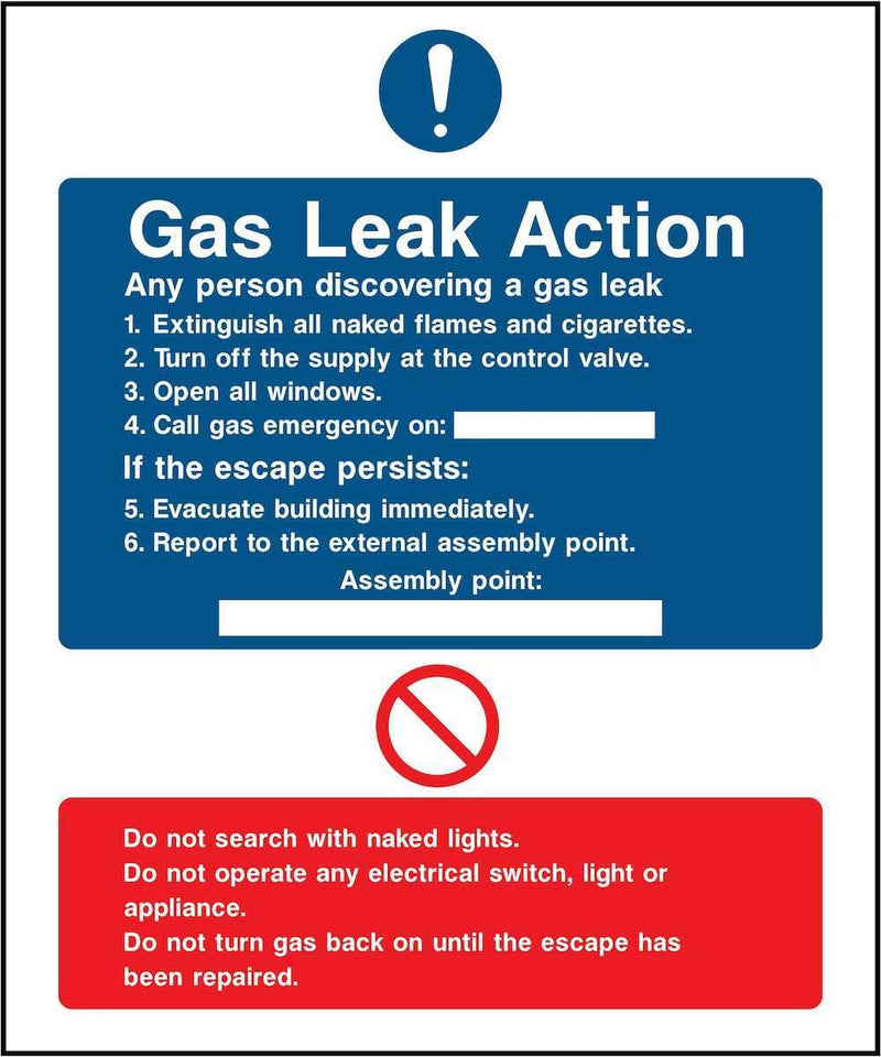 Gas Leak Action Notice Sign | Elevate Signs