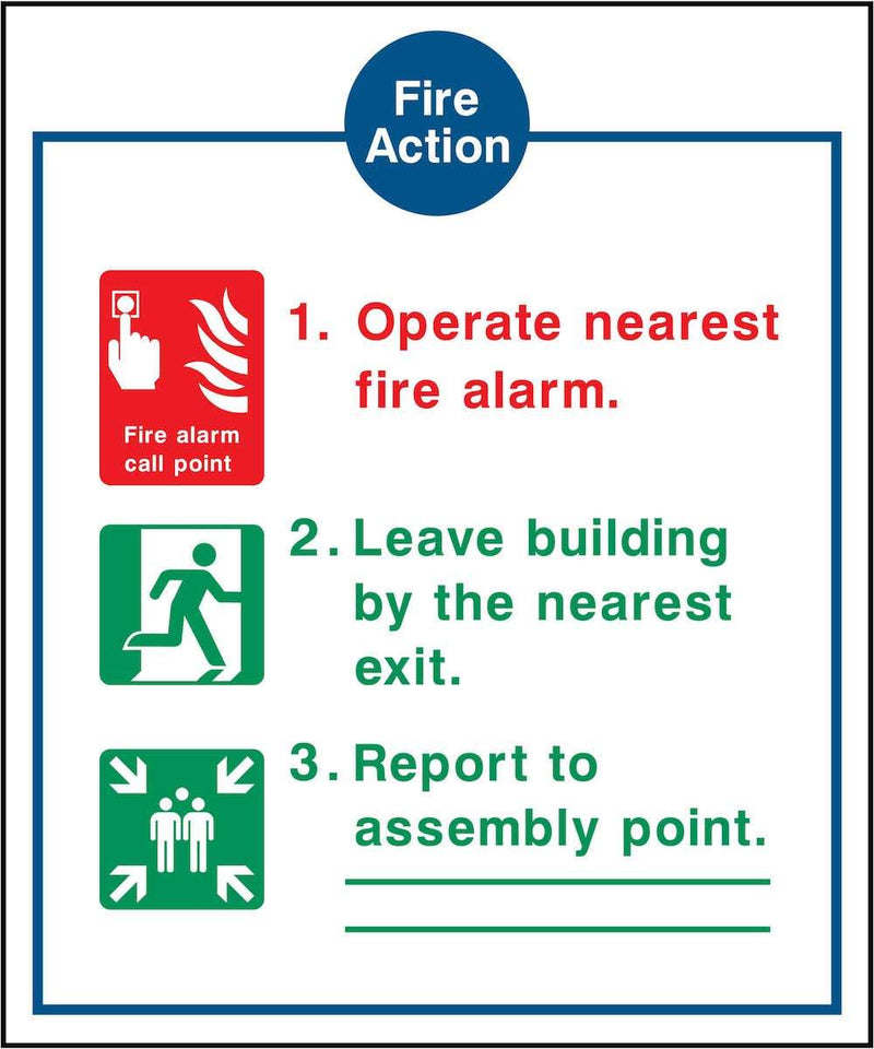 Fire Action Notice Sign: 3 Points with Images | Elevate Signs