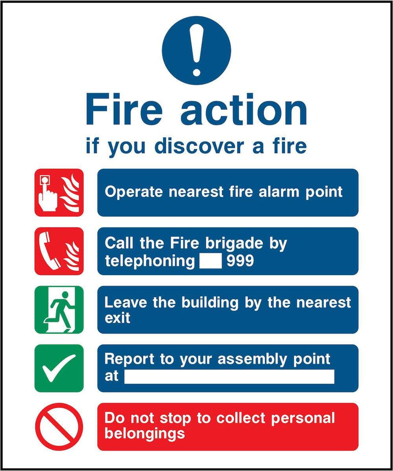 Fire Action Notice Sign: Five Points | Elevate Signs