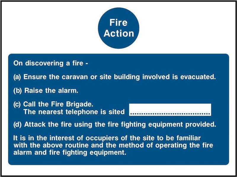 Fire Action Notice Sign: For Caravan Parks & Camping Sites | Elevate Signs