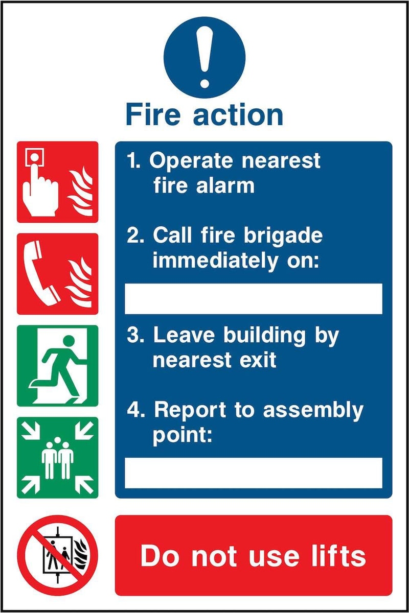 Simple Fire Action Notice: Three Point Sign