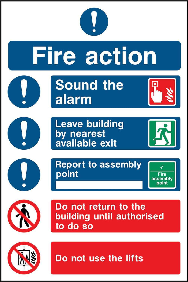 Simple Fire Action Notice Sign: Three Points
