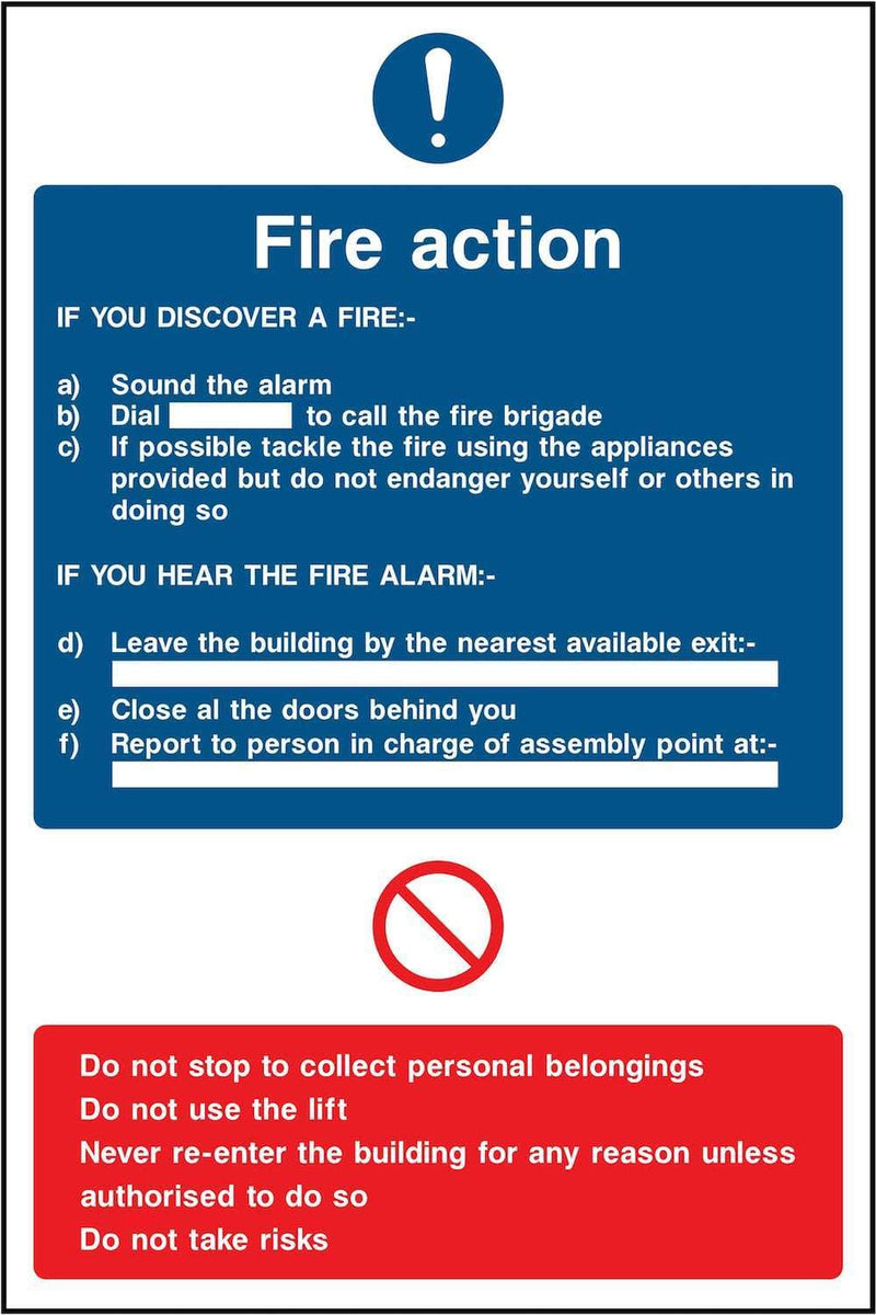 Fire Action Notice Sign: Six Points | Elevate Signs