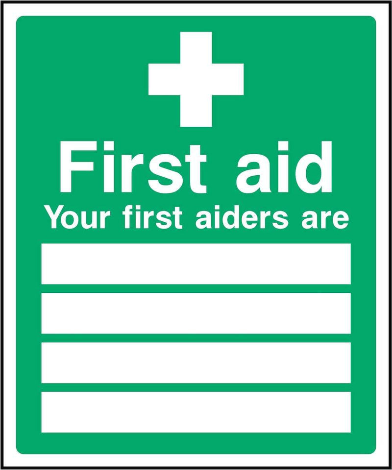 First Aiders Sign: Editable List | Elevate Signs