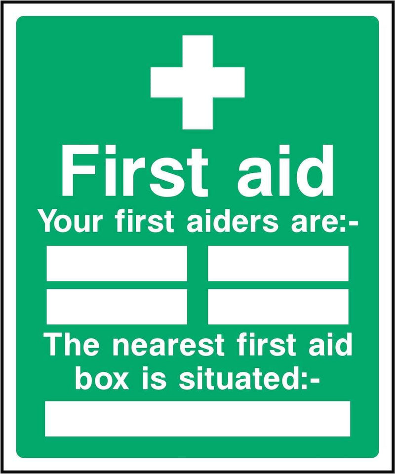 First Aiders Sign: List & First Aid Box | Elevate Signs