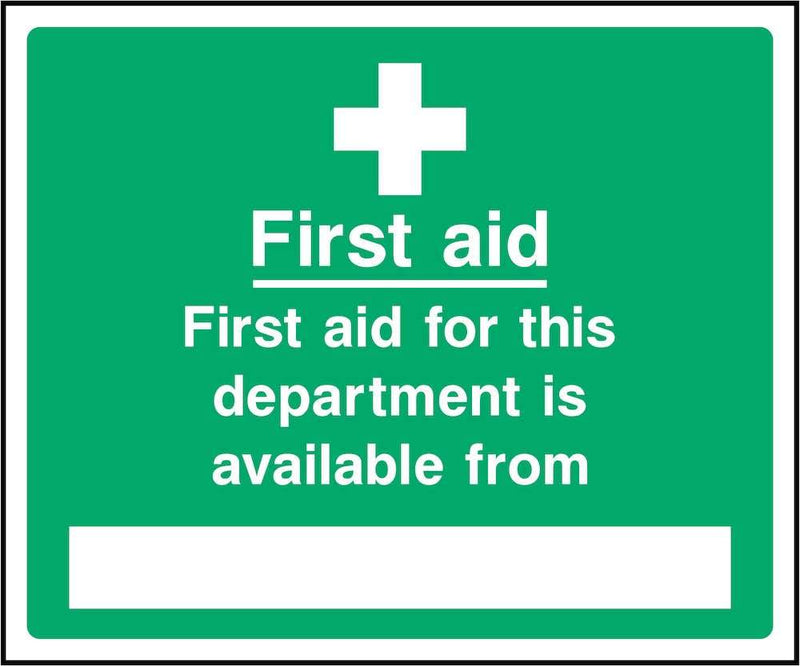 First Aid Sign: Department First Aid Available From | Elevate Signs
