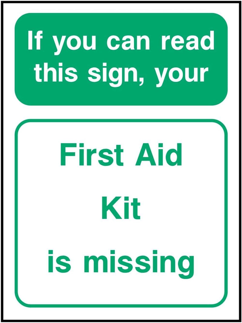 First Aid Sign: First Aid Kit Missing | Elevate Signs