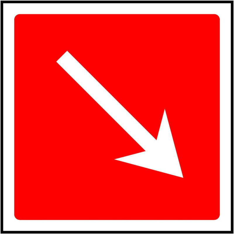 Fire Escape Direction Sign: Angled, Right Arrow | Elevate Signs