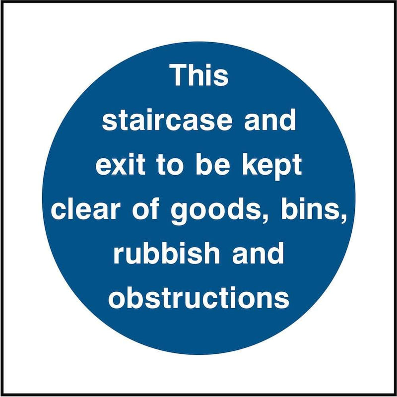 Keep Staircase & Exit Clear Sign | Elevate Signs