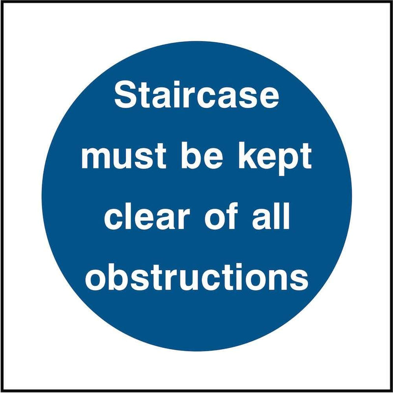 Staircase Sign: Keep Clear of Obstructions | Elevate Signs