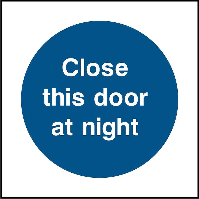 Emergency Escape Door Sign: Close At Night | Elevate Signs