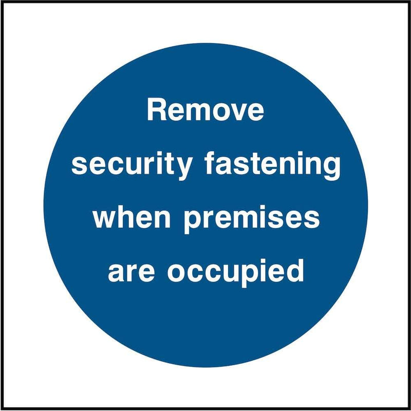 Emergency Escape Door Sign: Remove Security Fastening | Elevate Signs
