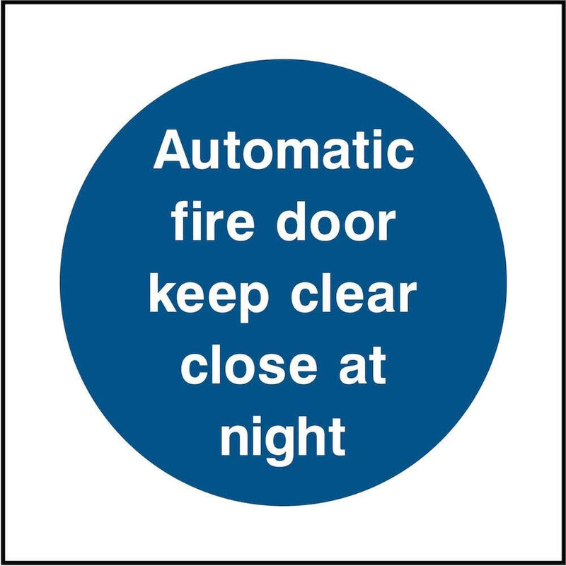 Automatic Fire Door Sign: Close at Night | Elevate Signs