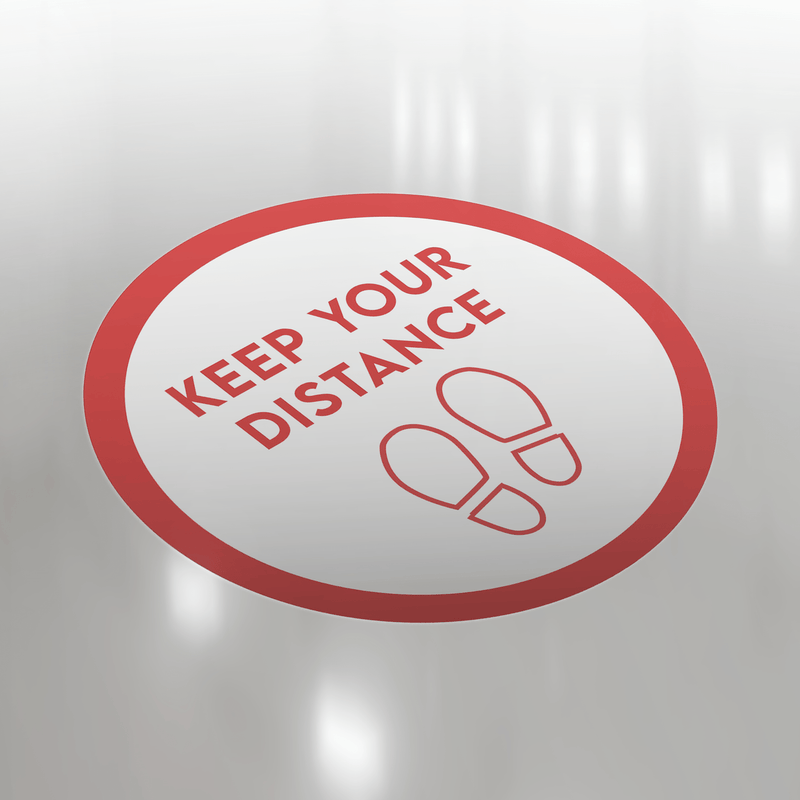 Keep Your Distance (Red Footprints) Red Floor Sticker