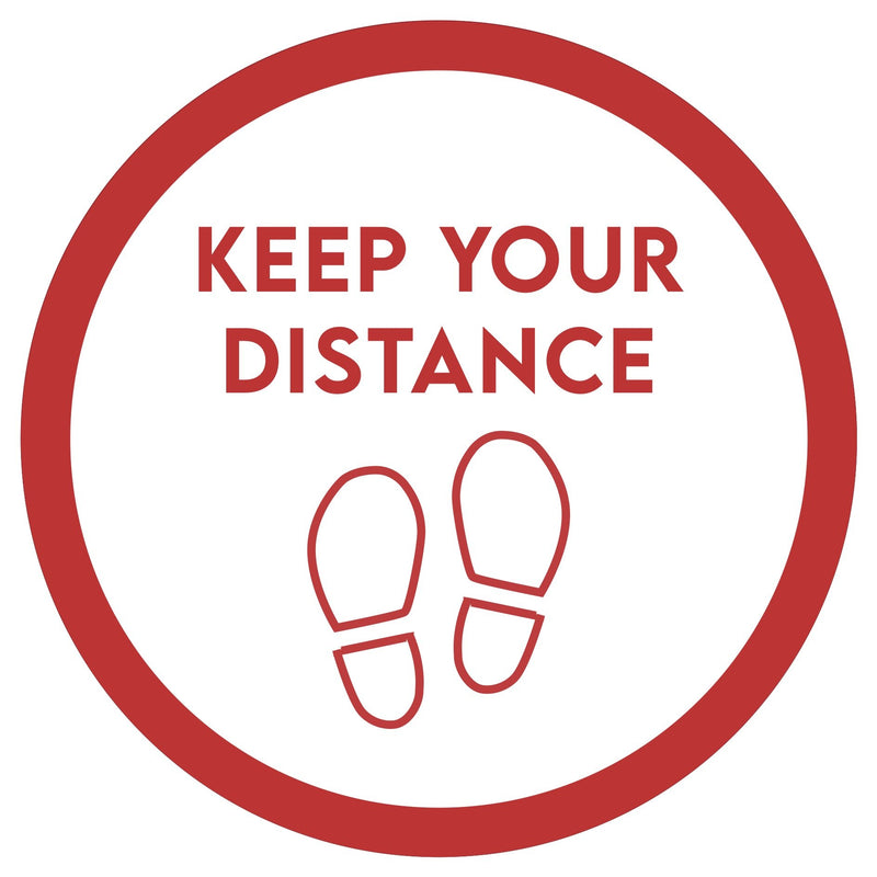 Keep Your Distance (Red Footprints) Red Floor Sticker | Elevate Signs