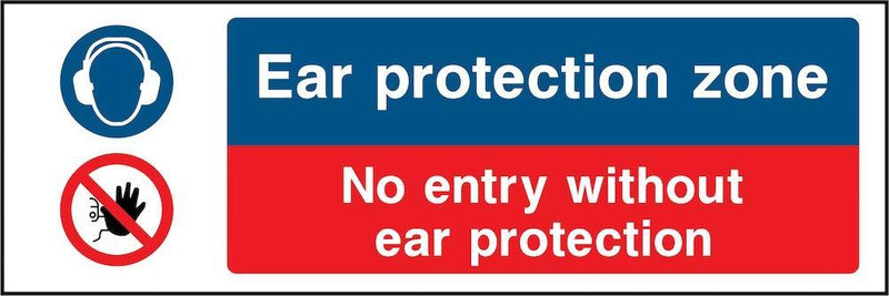 PPE Sign: Ear Protection Zone, No Entry | Elevate Signs