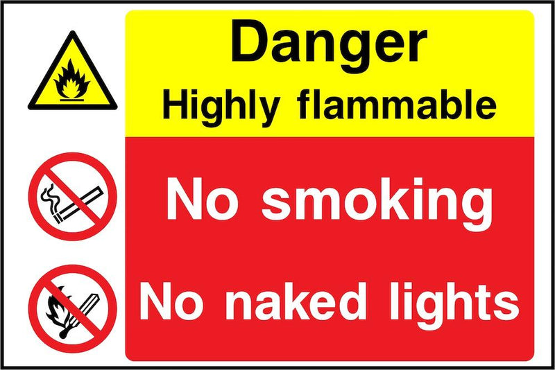 Danger Sign: Highly Flammable, No Naked Lights Sign | Elevate Signs