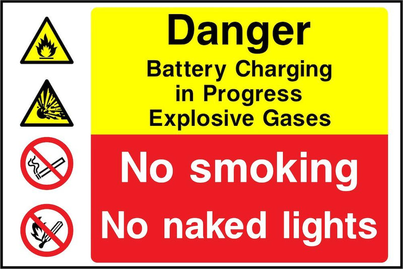 Danger Sign: Batteries Charging, Explosive Gases | Elevate Signs