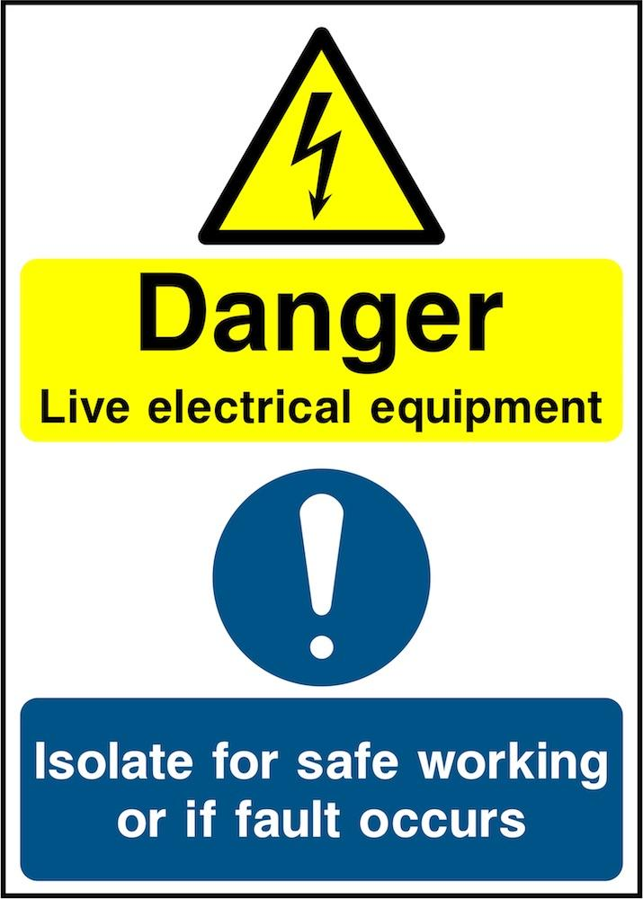 Danger Sign: Live Electrical Equipment (Portrait) | Elevate Signs