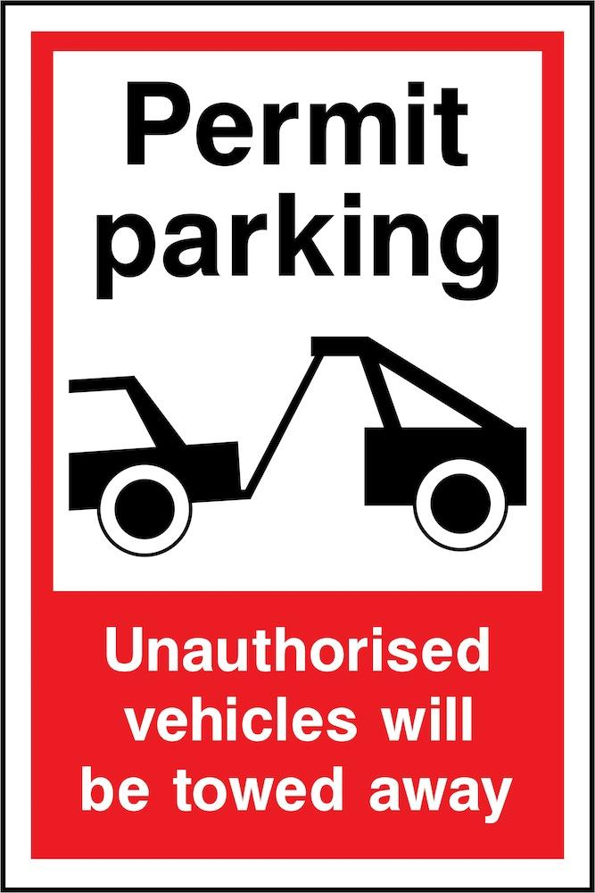 Permit Parking, Unauthorised Vehicled Towed Away Sign | Elevate Signs