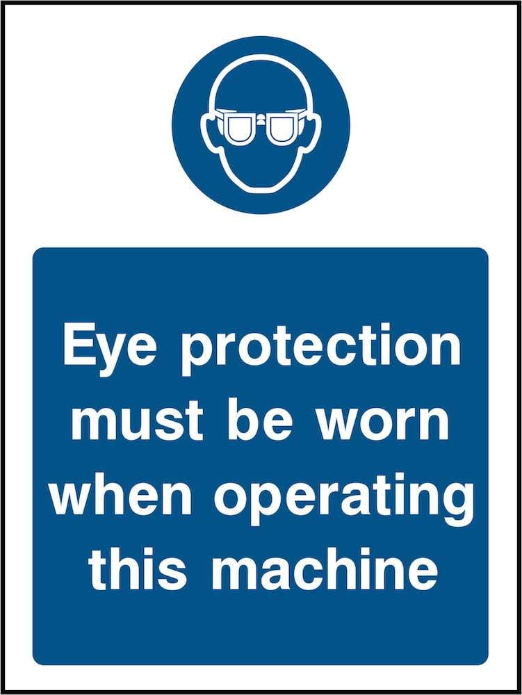 PPE Sign: Eye Protection For Machine (Image) | Elevate Signs