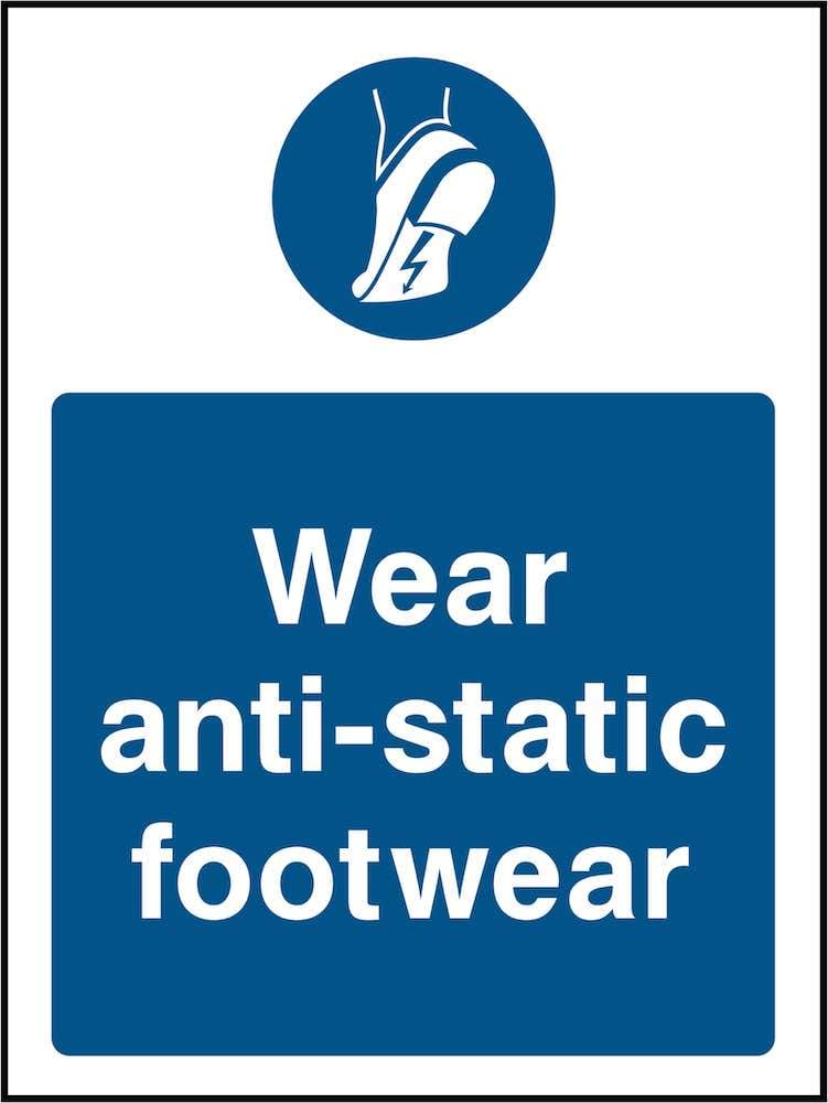 PPE Sign: Wear Anti-Static Footwear (Image) | Elevate Signs