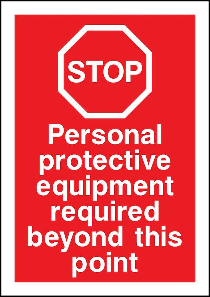 Stop Sign: PPE Required Beyond Point | Elevate Signs