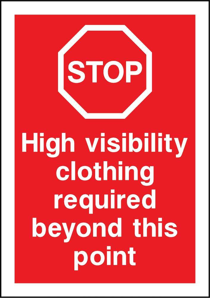 Stop Sign: High-Visibility Clothing Required Beyond Point | Elevate Signs