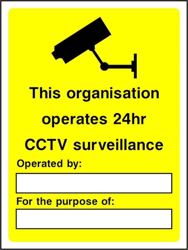 CCTV Sign: 24 Hour Surveillance