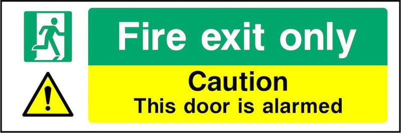 Fire Exit Sign: Door Is Alarmed