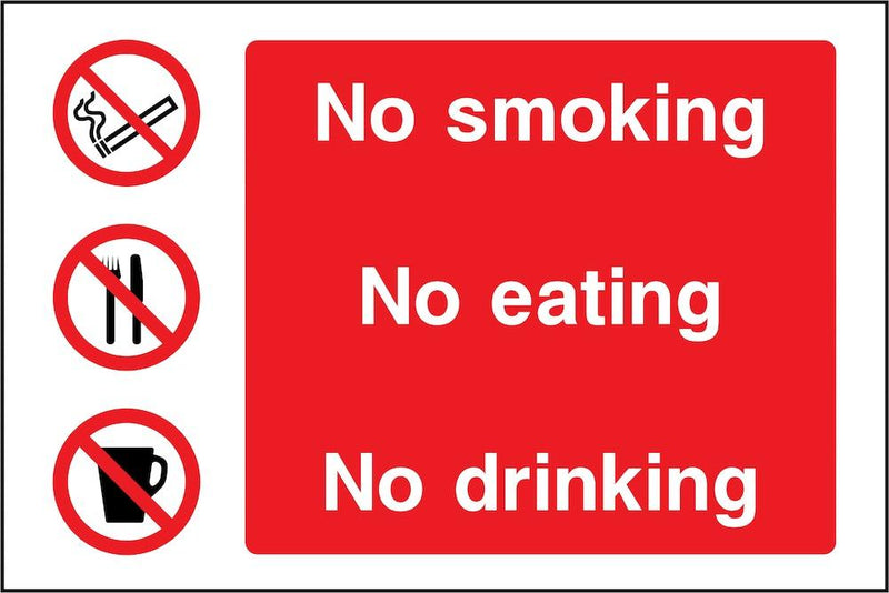 No Smoking, Eating, Drinking Sign | Elevate Signs