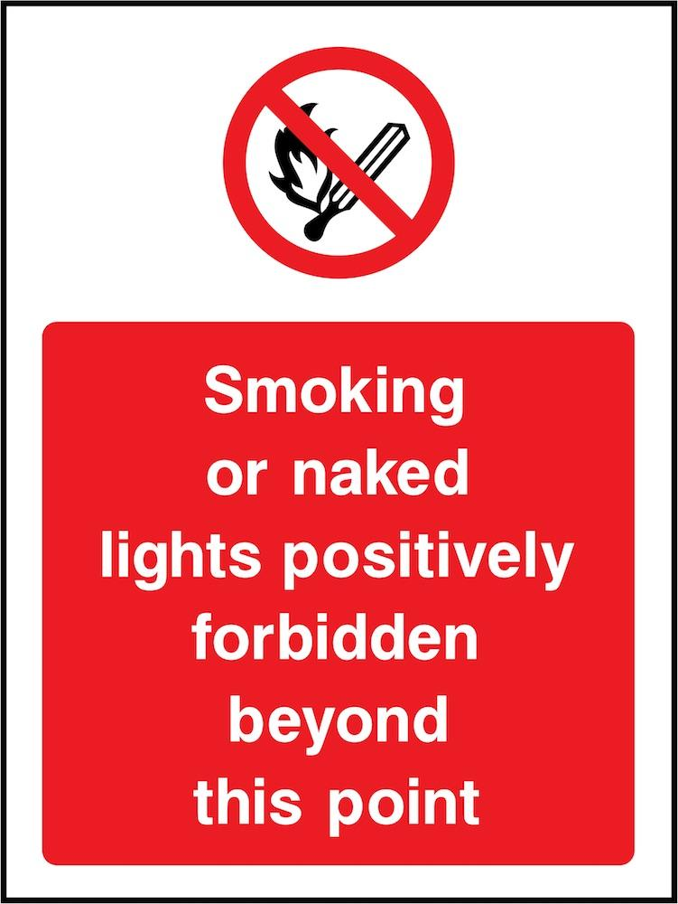 Smoking or Naked Lights Forbidden Beyond This Point Sign | Elevate Signs
