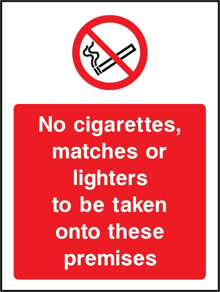 No Cigarettes, Matches or Lighters on Premises Sign | Elevate Signs