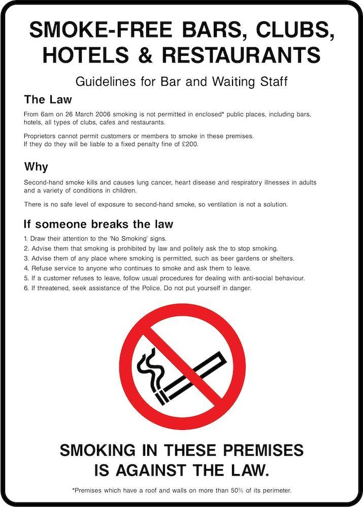 Smoke-Free Bars, Clubs, Hotels & Restaurants (Staff Guidelines) Sign | Elevate Signs
