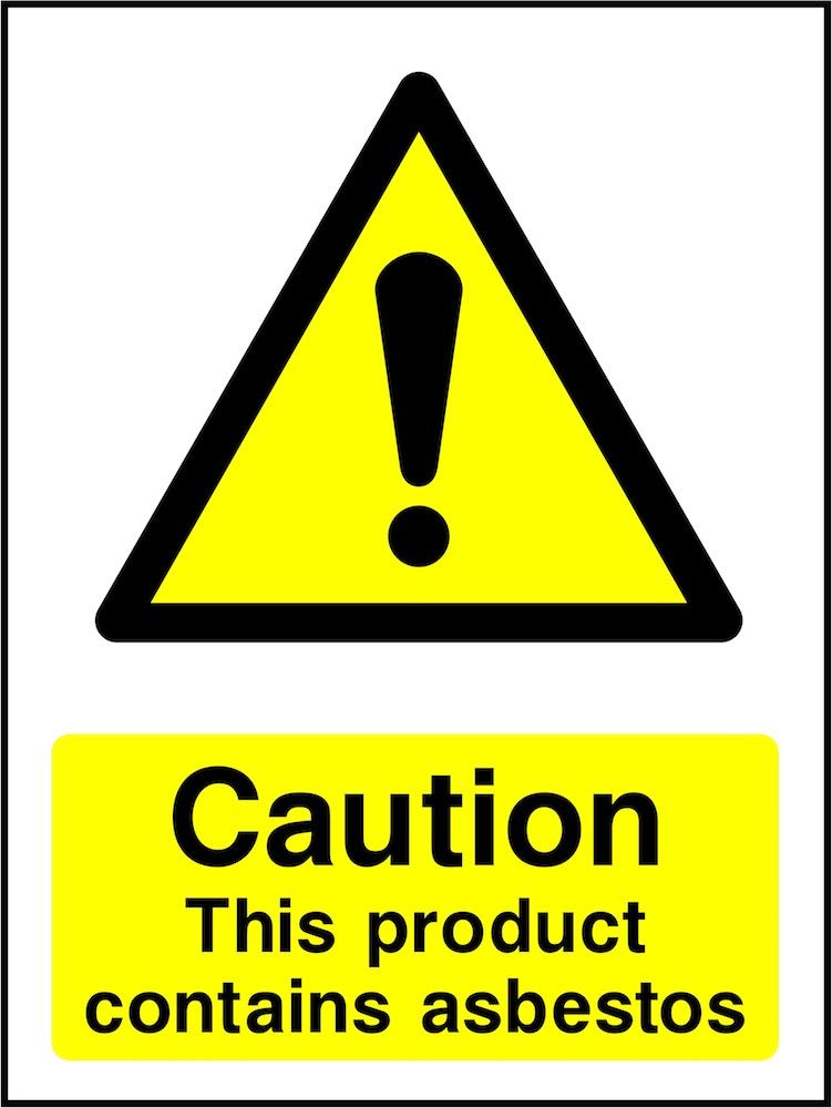 Caution Sign: Product Contains Asbestos